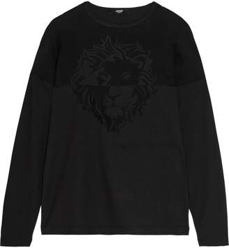 Versace Appliqued Voile And Cotton-jersey Top