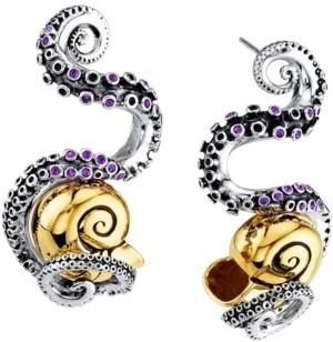 Rocklove Disney's The Little Mermaid Tentacle & Shell Cubic Zirconia Drop Earrings in Sterling Silver & 18k Gold-Plate