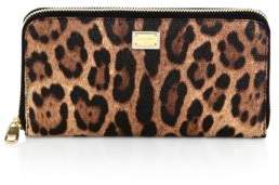 Dolce & Gabbana Crespo Leopard Leather Continental Wallet