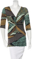 Etro Abstract Print Draped Top