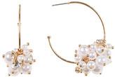 Natasha Accessories Faux Pearl Cluster Hoop Earrings