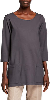 Caroline Rose Scoop-Neck 3/4-Sleeve Lux Ponte Pocket Tunic