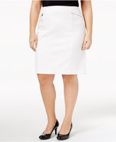 Calvin Klein Plus Size Zip-Pocket Pencil Skirt