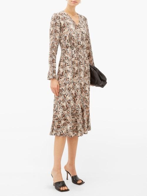 Thumbnail for your product : Altuzarra Martha Snake-print Silk Midi Dress - Ivory