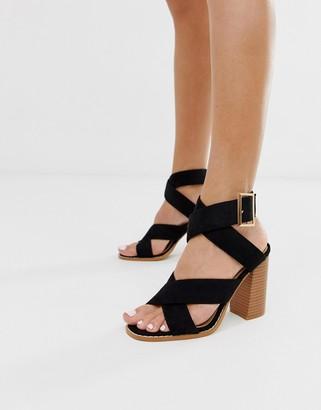Raid Abree black stacked block heeled sandals