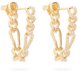 Bottega Veneta Pave-crystal Gold-plated Sterling-silver Earrings - Yellow Gold