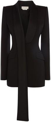 Alexander McQueen Crepe & Satin Back Cut Jacket W/ Scarf