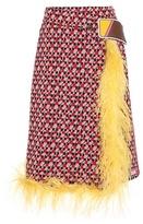 Prada Printed Skirt With Feather Trim