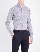 Duchamp Elegant floral-print tailored-fit cotton shirt