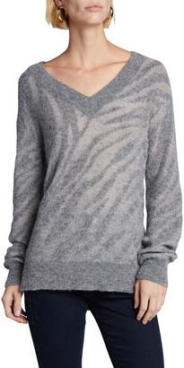 Rag & Bone Germain Zebra Striped V-Neck Sweater