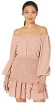 American Rose Halle Off-the-Shoulder Smocked Ruffle Dress (Blush) Women's Dress