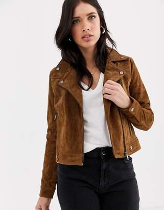 Vero Moda suede biker jacket-Brown