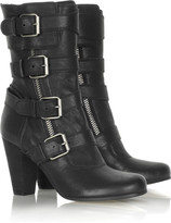 Multi buckle leather boots