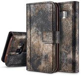 Galaxy S7 Case, Ranyi [Retro Forest Wallet] [Metal Button] [ID&Card Holder] [Kickstand Feature] Luxury Heavy Duty Leather Flip Wallet Protective Case for Samsung Galaxy S7 (2016), grey