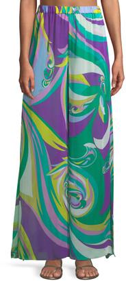 Emilio Pucci Parrot-Print Silk Wide-Leg Coverup Pants