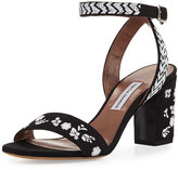 Tabitha Simmons Leticia Embroidered Block-Heel Sandal
