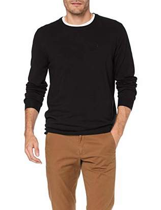 Trussardi Jeans Men's Round Neck Slim Fit Ribs Visco Jumper, Black K299, Medium