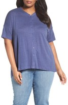 Eileen Fisher Plus Size Women's Organic Linen Jersey Mandarin Collar Top