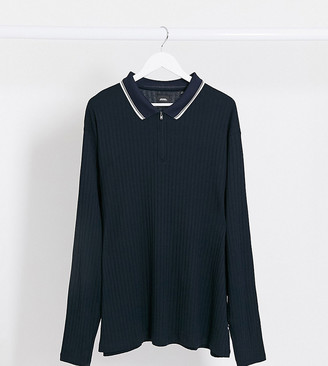 Burton Menswear Big & Tall half zip knitted polo in navy