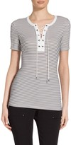 St. John Micro Mesh Stripe Jersey Lace Up T-Shirt