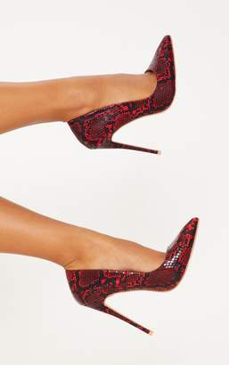 PrettyLittleThing Red Snake High Court Shoes