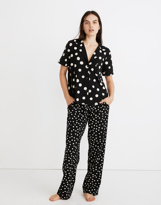 Madewell Knit Bedtime Short-Sleeve Pajama Top in Inkwell Dots