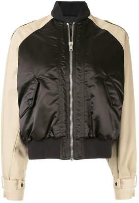 MSGM two-toned cropped bomber jacket