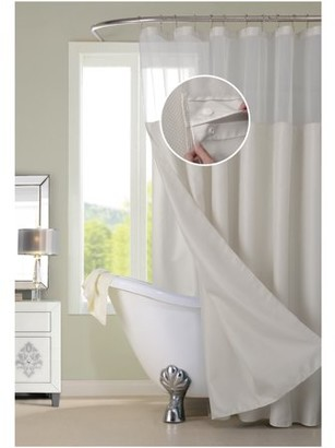 Off-White Dainty Home Complete Waterproof Shower Curtain with Detachable Liner in