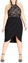 City Chic Lady Portia Mixed-Media Halter Dress
