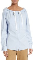 Theory Women's Magena Drawstring Neck Stretch Cotton Top