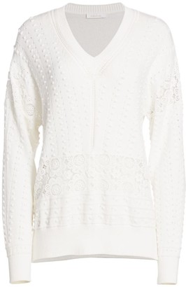 See by Chloe Lace Eyelet Sweater