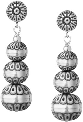 American West Sterling Stamped Native Pearl Drop Earrings