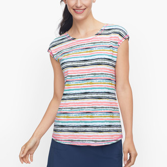 Talbots Crisscross Back Tee - Painterly Stripe