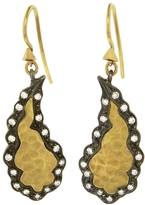 Cathy Waterman Blackened Scalloped Frame Paisley Earrings - 22 Karat Gold