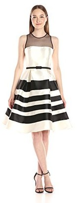 Mac Duggal Women's Tea Length Dress with Sheer Black Bateau Neckline with A Bow Belt Contrast Stripe