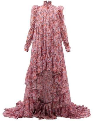 Giambattista Valli Ruffled Floral-print Silk-georgette Gown - Womens - Pink Multi