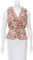 Christian Lacroix Floral Ruffle-Trimmed Top