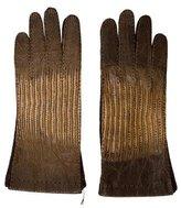 Prada Lizard & Leather-Paneled Gloves