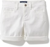 Old Navy White Stretch-Denim Midi Shorts for Girls