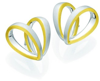 Breuning Two-Tone 18K Gold Plated Sterling Silver Heart Ribbon Stud Earrings