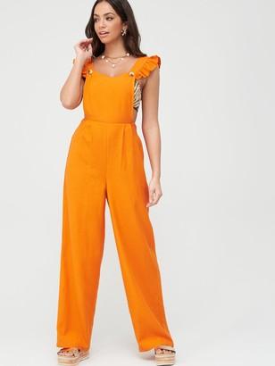 Very Frill Pinafore Linen Beach Jumpsuit - Orange