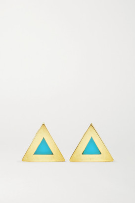 Jennifer Meyer Mini Triangle 18-karat Gold Turquoise Earrings - one size