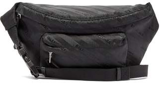 Balenciaga Striped Logo Belt Bag - Womens - Black