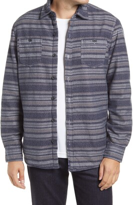 johnnie-O Worth Stripe Fleece Lined Flannel Button-Up Shirt Jacket