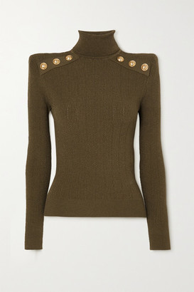 Balmain Button-embellished Ribbed-knit Turtleneck Sweater - Army green