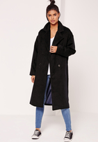 Missguided Cocoon Double Breasted Faux Wool Coat Navy