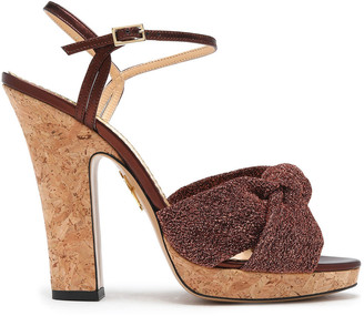 Charlotte Olympia Farrah Knotted Denim And Cork Platform Sandals
