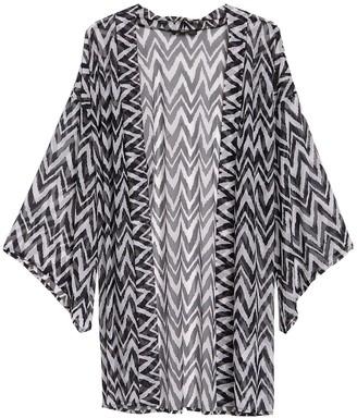 Athena Indigo Printed Mesh Cover-Up Kimono