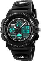 BesWLZ Kids Sport Outdoor Digital Unusual Analog Quartz Dual Time Zone Waterproof Watch with Chronograph Alarm Calendar Date Window for Boys Girls Children