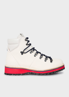 Paul Smith Men's White Leather 'Ash' Hiking Boots
